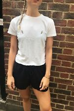 New! Brandy Melville white cropped Jamie thunderbolt embroidered top NWT sz S/M