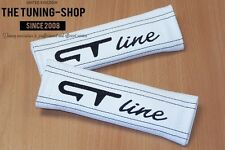 """2x Seat Belt Covers Pads White Leather """"GT line"""" Black Embroidery"""