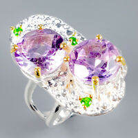 Handmade Natural Amethyst 925 Sterling Silver Ring Size 7.5/R119292