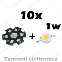 10X Chip led 1W bianco freddo 350mA 3V 3.6V dissipatore alluminio lampadina bulb