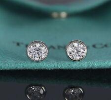 $15,500 Tiffany 1.26ct Elsa Diamond By The Yard Platinum Bezel Set Stud Earrings
