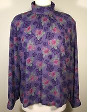 Pendleton Country Sophisticates Womens Blouse High Collar Floral Career Sz 14