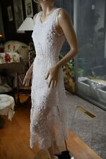 LIM'S VINTAGE HAND MADE CROCHET MIDI DRESS WHITE W/KNIT LINING ONE SIZE FITS MOS