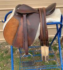 "Used 16"" brown leather Ap English saddle w/fittings, girth, pad"