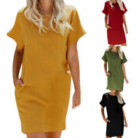 Women Summer Short Sleeve T Shirt Dress Loose Casual Blouse Tee Tunic Mini Dress