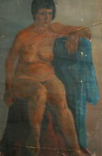 Antique European Nude Female Oil Painting Portrait