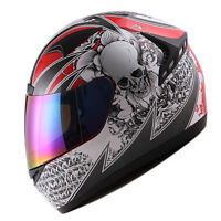 NEW 1STORM DOT MOTORCYCLE STREET BIKE FULL FACE HELMET BOOSTER SKULL RED HG335