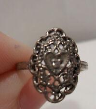 Vintage Antique Estate~Diamond Chip Heart Filigree Sterling Silver Ring Size 5.5