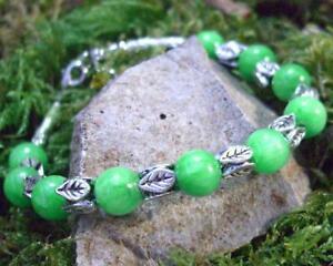Green beads and Tibetan silver leaf beads bracelet #2