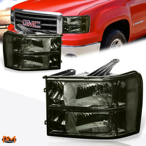 For 07-14 GMC Sierra Pickup Smoked Lens Clear Corner Headlight/Lamp Replacement