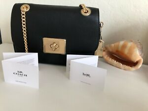 Authentic Coach F34828 Cassidy Black Leather Chain Crossbody Shoulder Bag NWT