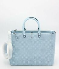 NWT Tory Burch Robinson Blue Perforated Leather Double Zip Satchel Tote Bag New