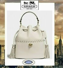NWT COACH LORA Bucket Bag Drawstring Whipstitch Detail In CHALK Leather Brass