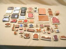 RUBBER STAMPS, 40+, ALL OCCASIONS, VARIED MAKERS,  11 INK PADS, USED