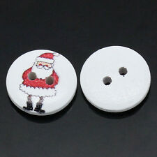 15 x FATHER CHRISTMAS / SANTA CLAUS ROUND  WHITE BUTTONS - SAME DAY  POSTAGE