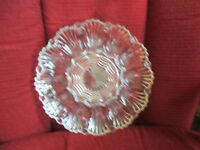 """Vintage Heavy Clear Glass Deviled Egg Tray 9-3/4"""" round 12 egg slots"""