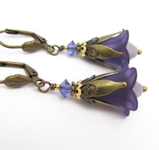 TRUMPET FLOWER EARRINGS Frosted Lucite PURPLE LILY DANGLE Glass Antiqued Brass