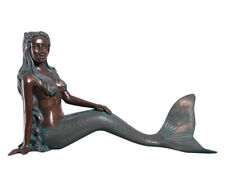 Mermaid Statue Nerissa by the Sea Large Sitting Siren Figure Verde Bronze