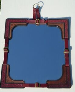 1960s VINTAGE MIRROR LEATHER JACQUES ADNET STYLE MID CENTURY LARGE