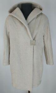 Fabiana Filippi Womens Cream Alpaca/Merino Wool Hood Coat Size 12 / M