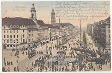 Kolorierte Ak Dresden Hauptstrasse Straßenbahn Cafe Hülfert Reklame 1904 (A1745