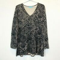 Blue Illusion Womens Black Floral Long Sleeve Top Size M