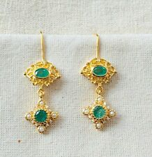 Scintillating Handcrafted Emerald Vermeil 14k Gold Over Sterling Silver Earring