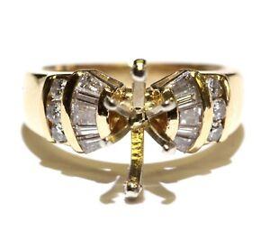 14k yellow gold .35ct diamond engagement semi mount ring 5.8g ladies size 5