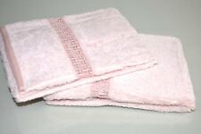 NEW FRETTE Happiness Desiderata Pizzo 2 GUEST TOWELS Wild Rose Blush Pink LACE