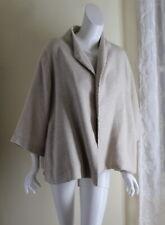 Eileen Fisher -Sz XL Wheat Silk Linen Luxury Designer 3/4 A-Line Swing Jacket
