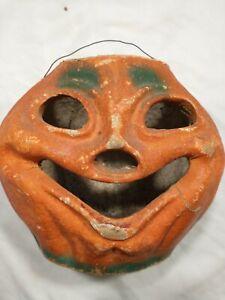 Vintage 1955 Halloween Paper Mache Pumpkin Jack O Lantern   Grinning Face