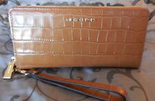 MICHAEL KORS ~Travel Continental EMBOSSED LEATHER Wristlet Wallet~ACORN~TAN $168
