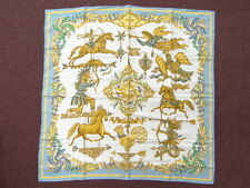 Auth HERMES Scarf Carre LES GIROUETTES Blue White France Silk 06130256100 S10F