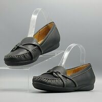 LL Bean Women's Black Leather Accent Straps Slip On Comfort Loafers Shoes /US 9