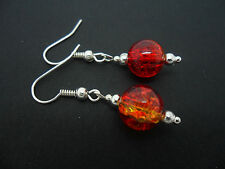 A PAIR OF SILVER PLATED RED & AMBER CRACKLE GLASS DROP EARRINGS. NEW.