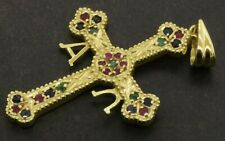 18K yellow gold 0.50CT ruby sapphire emerald Alpha & Omega cross pendant