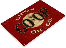 Union Co-Op Oil Gas Logo Station Garage Rustic Retro Wall Decor Metal Tin Sign