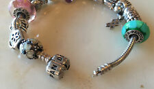 Authentic PANDORA Sterling Silver ALE 925 Charm Bracelet w/ 15 Charms & 2 Spacer