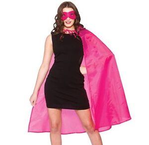 Halloween Adult Unisex Superhero Fancy Dress Kit Cape & Mask Pink Cloak New w