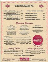 WOOLWORTH VINTAGE LUNCH COUNTER MENU FROM APRIL 1960 REPRINT
