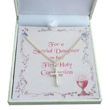 First Holy Communion Day Necklace for Girl with Cross Pendant. Gift Boxed.