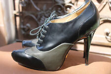 L.A.M.B. shoes boots OXFORD GREEN Black Lace Up Pointed Toe High Heel 10 WOMENS