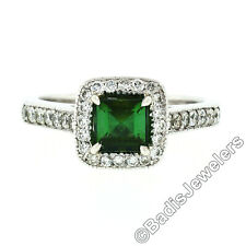 Platinum 1.51ctw Square Step Cut Green Tourmaline Solitaire Ring w/ Diamond Halo