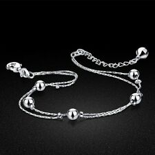 Genuine Solid Sterling Silver Ball Chain Lady's Anklets Bracelet Sb356