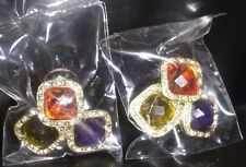 Avon Rosie Earrings Diamante Statement  Acrylic Gem Purple Orange Green BNIB