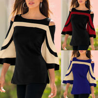 Fashion Women Lady Cold Shoulder Long Flare sleeve PaTctwork Tops Blouse Shirt