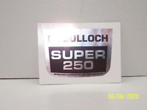 McCulloch Super 250 Chainsaw Breather Cover Decal!