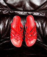 TIMBERLAND  Damen Echtleder Schuhe Sandaletten Pantolette Sommer  Gr.7 W 39 Rot