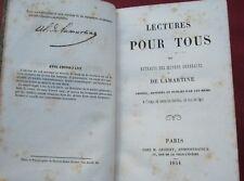 LECTURES POUR TOUS ou extraits des oeuvres générales de LAMARTINE GROSSET 1854