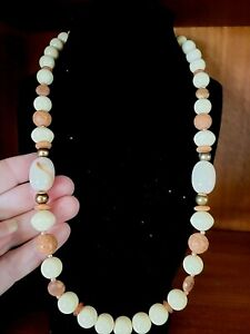 """Cream & Tan Lucite & Faux Carved Beads Beaded Necklace - Vintage Unique 22"""""""